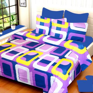 IWS Cotton Printed Double Bedsheet with 2 Pillow Covers-IWS-CB-535
