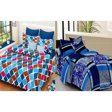 IWS Set of 2 100% Cotton Double Bedsheet with 4 Pillow Cover-IWS-CB-636