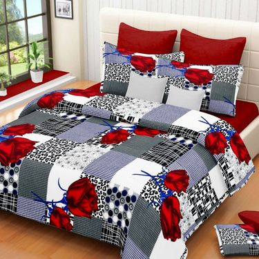 IWS Set of 3 100% Cotton Double Bedsheet with 6 Pillow Cover-IWS-CB-644