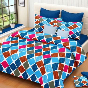 IWS Set of 4 100% Cotton Double Bedsheet with 8 Pillow Cover-IWS-CB-653