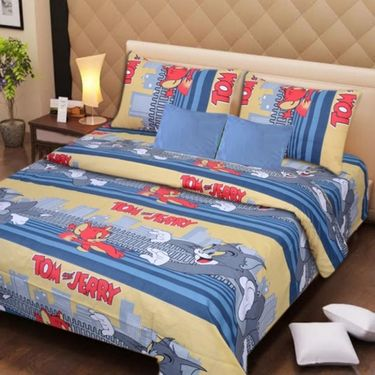 IWS Kids Cotton Printed Double Bedsheet with 2 Pillow cover IWS-CB-72