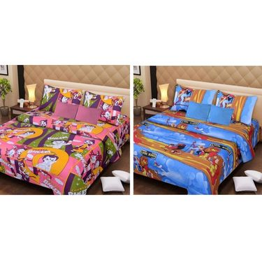 IWS Set of 2 Designer Cotton kids Double Bedsheet with 4 Pillow cover IWS-CCB-26