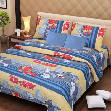 IWS Set of 2 Designer Cotton kids Double Bedsheet with 4 Pillow cover IWS-CCB-38