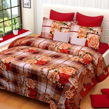 IWS Printed  Double Bedsheet with 2 Pillow Covers-IWS-NPrinted-02