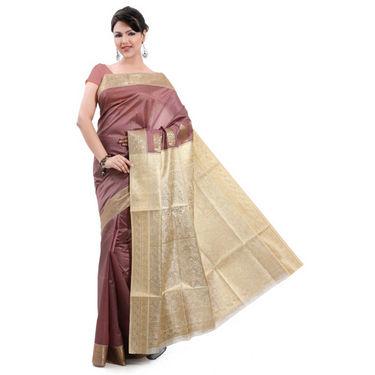 Ishin Poly Silk Saree (Brown) - STCS-26