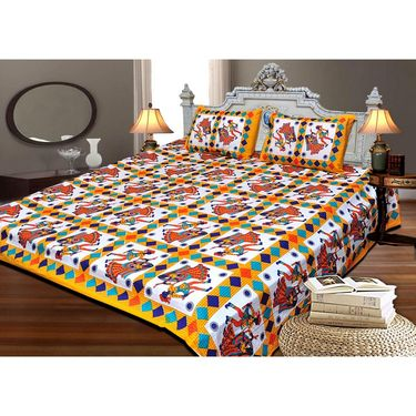 Set of 4 Designer Cotton Double Bedsheet with 8 Pillow covers - JBG_Combo5