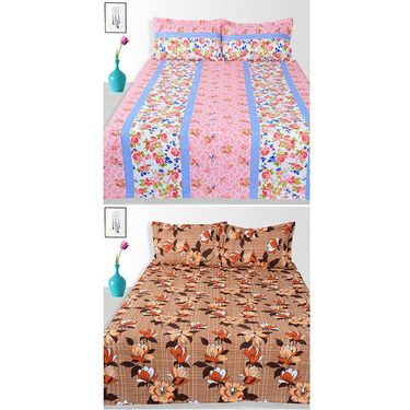 Ahem Homes Cotton 2 Double Bedsheet With 4 Pillow Cover-JC1201
