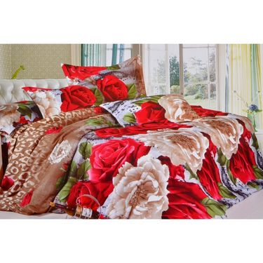 4D Printed  Double Bed Sheet With 2 Pillow Cover- JF-023