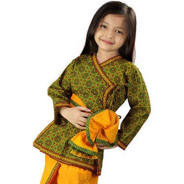 Little India Jaipuri Bandhej Dhoti Angarkha - Green Yellow - DLI3KED202A