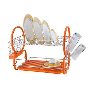 Kawachi Stainless Steel 2 Tier Drainer Rack-Orange