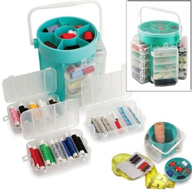 Kawachi  210pc Deluxe Sewing Kit Set Thread Needles Pins Buttons & Storage Caddy Box-K288