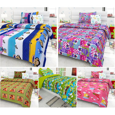 Set Of 5 Kids single Bedsheet With 5 Pillow Cover-KZ_1401_03