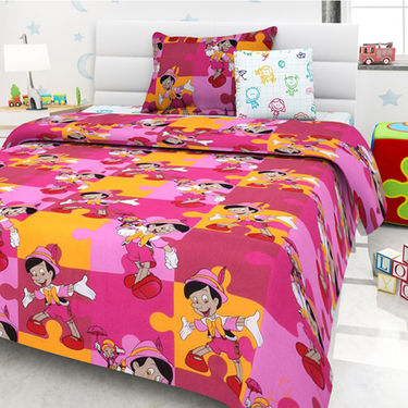 Set Of 5 Kids single Bedsheet With 5 Pillow Cover-KZ_1405_08