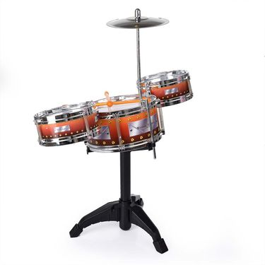 Kids Musical Drum Set - 3 Drums, Cymbal, 2 Sticks, Stand