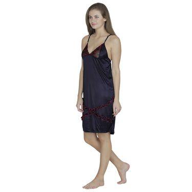 Klamotten Satin Plain Nightwear - Dark Blue - X01_Navy