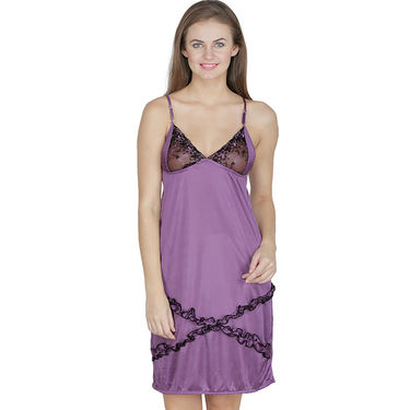 Klamotten Satin Plain Nightwear - Purple - X01_Prpl