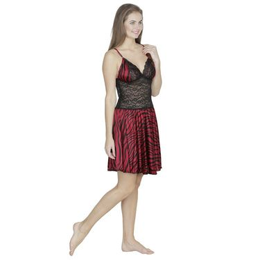 Klamotten Satin Plain Nightwear - Red - X07_Tgr_Red