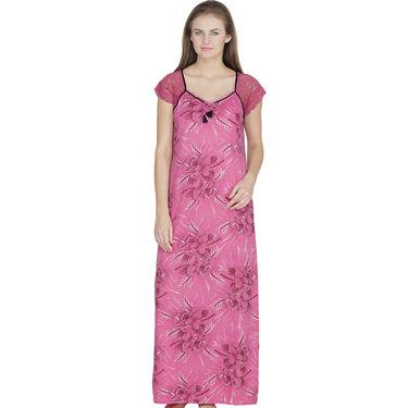 Klamotten Cotton Printed Nighty - Pink - X108_Pr_Pnk