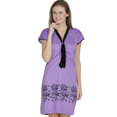 Klamotten Cotton Plain Nighty - Purple - X130_Mauve