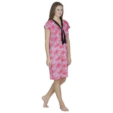 Klamotten Cotton Printed Nighty - Pink - X130_Pr_Pink