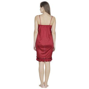 Klamotten Satin Plain Nightwear - Maroon - X44_Maroon