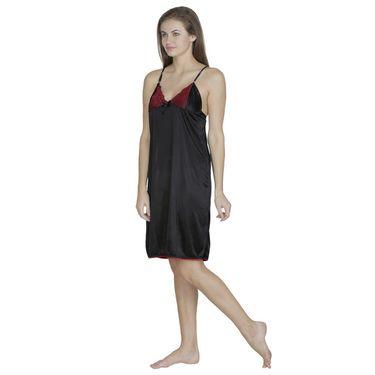 Klamotten Satin Plain Nightwear - Black - X63_Blk