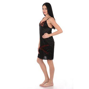 Klamotten Satin Plain Nightwear - Black - YY01