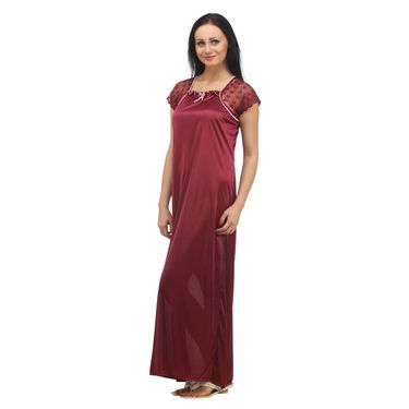 Klamotten Satin Plain Nightwear - Red - YY10