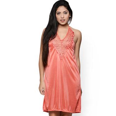 Klamotten Satin Plain Nightwear - PeachPuff - YY155