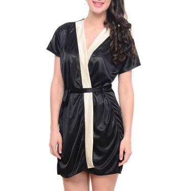 Klamotten Satin Plain Nightwear - Black - YY28