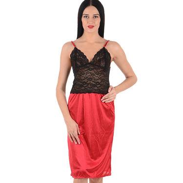 Klamotten Satin Plain Nightwear - Red - YY34