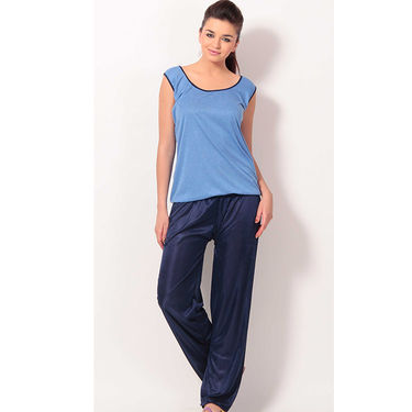 Klamotten Cotton Plain Nightwear - Blue - YY59
