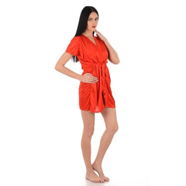 Klamotten Satin Plain Robe - Orange - YY68