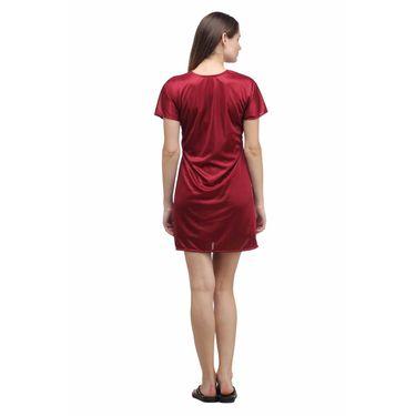 Klamotten Satin Plain Robe - Maroon - YY93