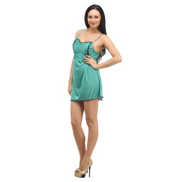 Klamotten Satin Plain Nightwear - Green - YY96