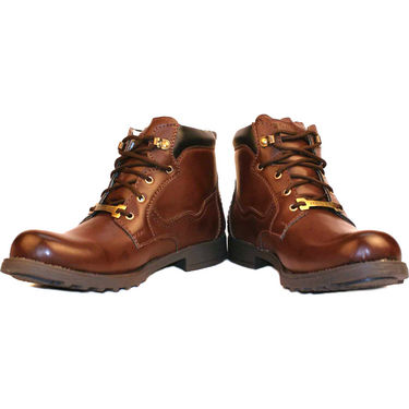 Kohinoor Faux Leather Boots - Brown-3748