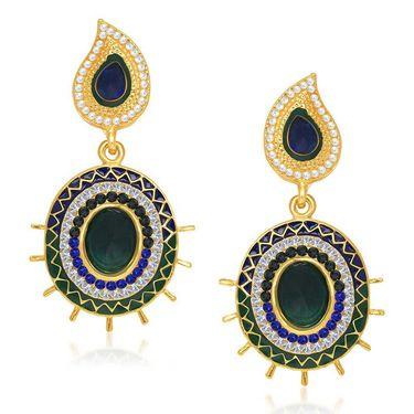 Kriaa Austrian Stone Gold Plated Earrings  - Green & Blue _ 1304608