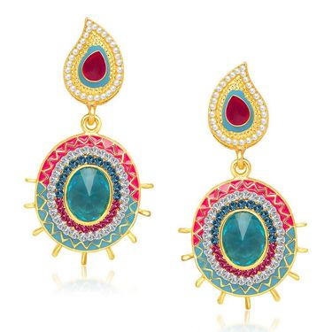 Kriaa Austrian Stone Gold Plated Earrings  - Red & Blue _ 1304610