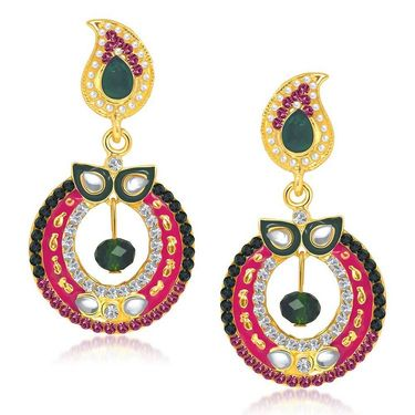 Kriaa Austrian Stone Gold Plated Earrings - Green & Pink _ 1304613