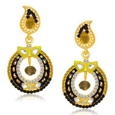 Kriaa Austrian Diamond Gold Plated Earrings - White & Black _ 1304621