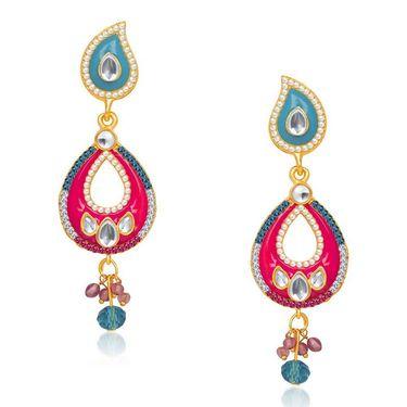 Kriaa Austrian Stone Kundan Earrings - Yellow & Purple _ 1304625