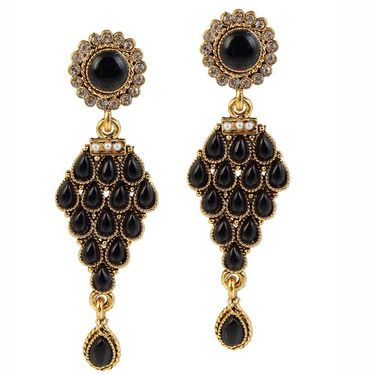 Kriaa Antique Pearl Gold Finish Earrings  - Black _ 1304902