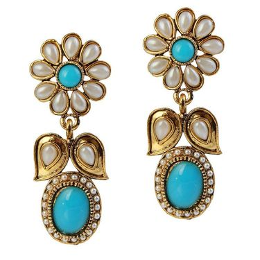 Kriaa Antique Pearl Gold Finish Earrings  - Green _ 1304909