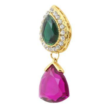 Kriaa Austrian Stone Pearl Gold Finish Dangle Earrings - Purple & Green _ 1305804