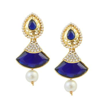 Kriaa Austrian Stone Pearl Gold Finish Dangle Earrings - Blue _ 1305809