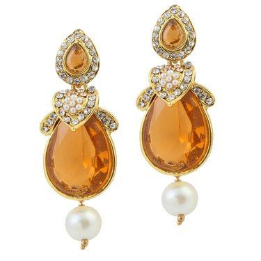 Kriaa Austrian Stone Pearl Gold Finish Dangle Earrings - Brown _ 1305813