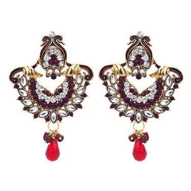 Kriaa Austrian Stone Peacock Earrings - Red _ 1300329