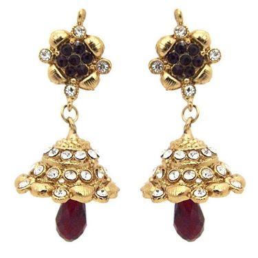 Kriaa Austrian Stone Jhumki Earrings - Brown _ 1300734