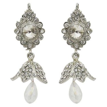 Kriaa Austrian Stone Jhumki Kundan Earrings - White _ 1300840