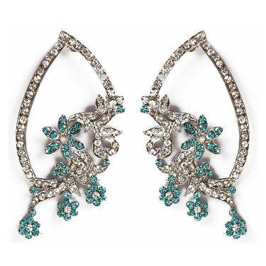 Kriaa Floral Austrian Diamond Earrings - Blue _ 1301321